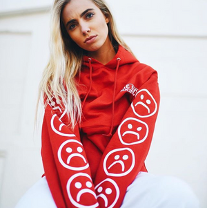 The Sad Society™ True Red Bogo Sad Face Sleeved Hoodie