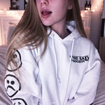 Cool White Bogo Sad Face Sleeved Hoodie