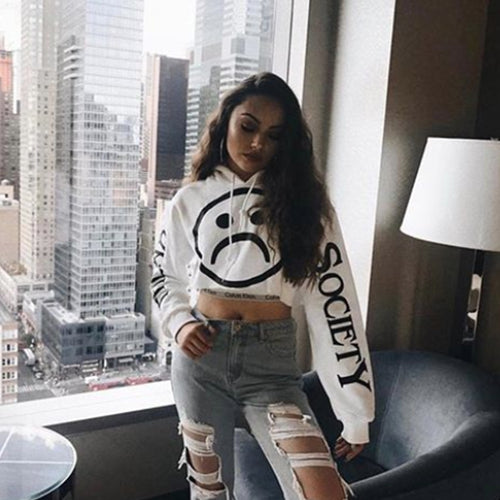Sad Society White Crop Hoodie