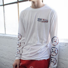 Sad Face American Flag White Long Sleeve T Shirt
