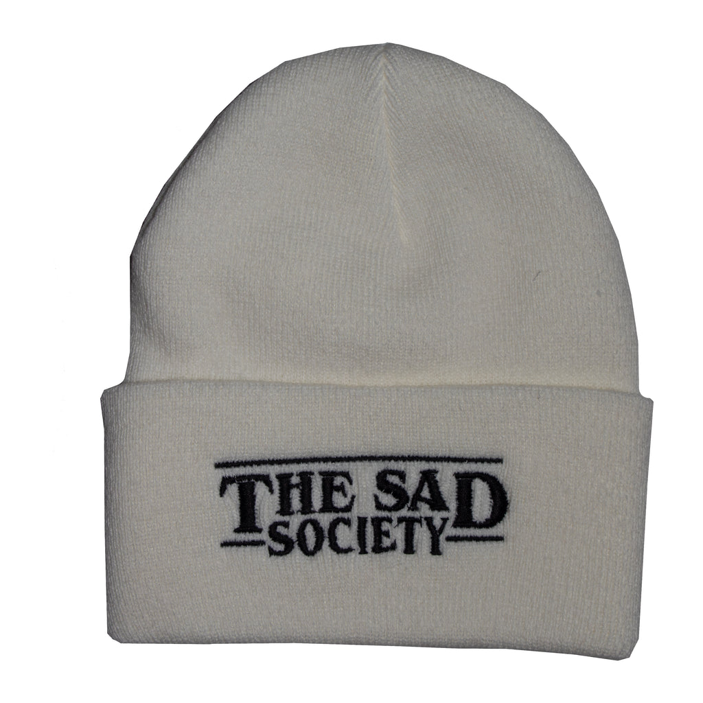 The Sad Society Reversable White Beanie