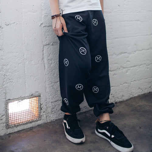 The Sad Society Black Pattern Sweat Pants