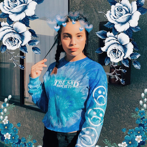 Sad Face Blue Tie Dye Crop Long Sleeve T Shirt