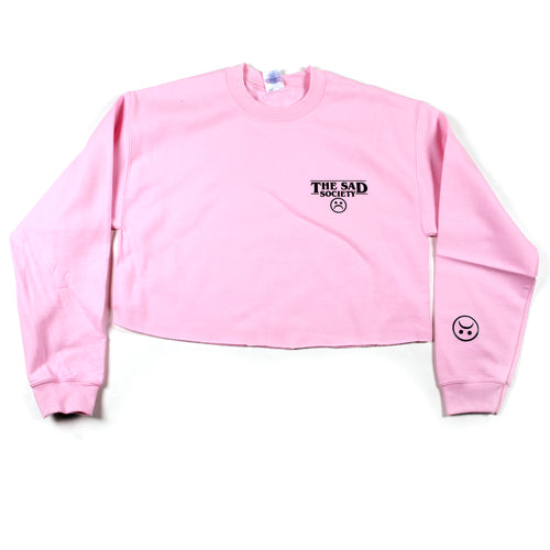 The Sad Society™ bogo sad face crop sweatshirt Pink Sweatshirt