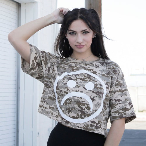Sad Face Mil Camo Crop T Shirt