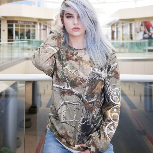Sad Face Forest Camo Long Sleeve T Shirt