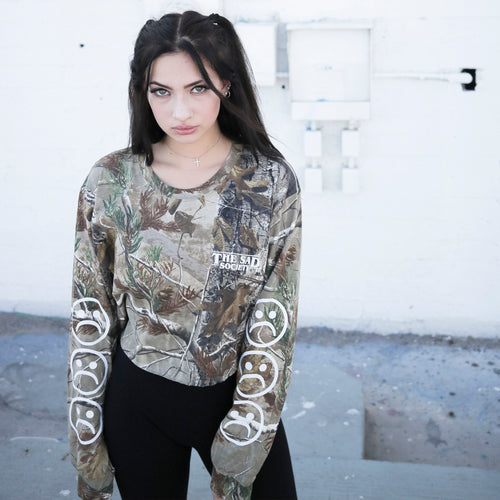 Sad Face Forest Camo Crop Long Sleeve T Shirt
