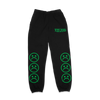 The Sad Society Green on Black Sweat Pants