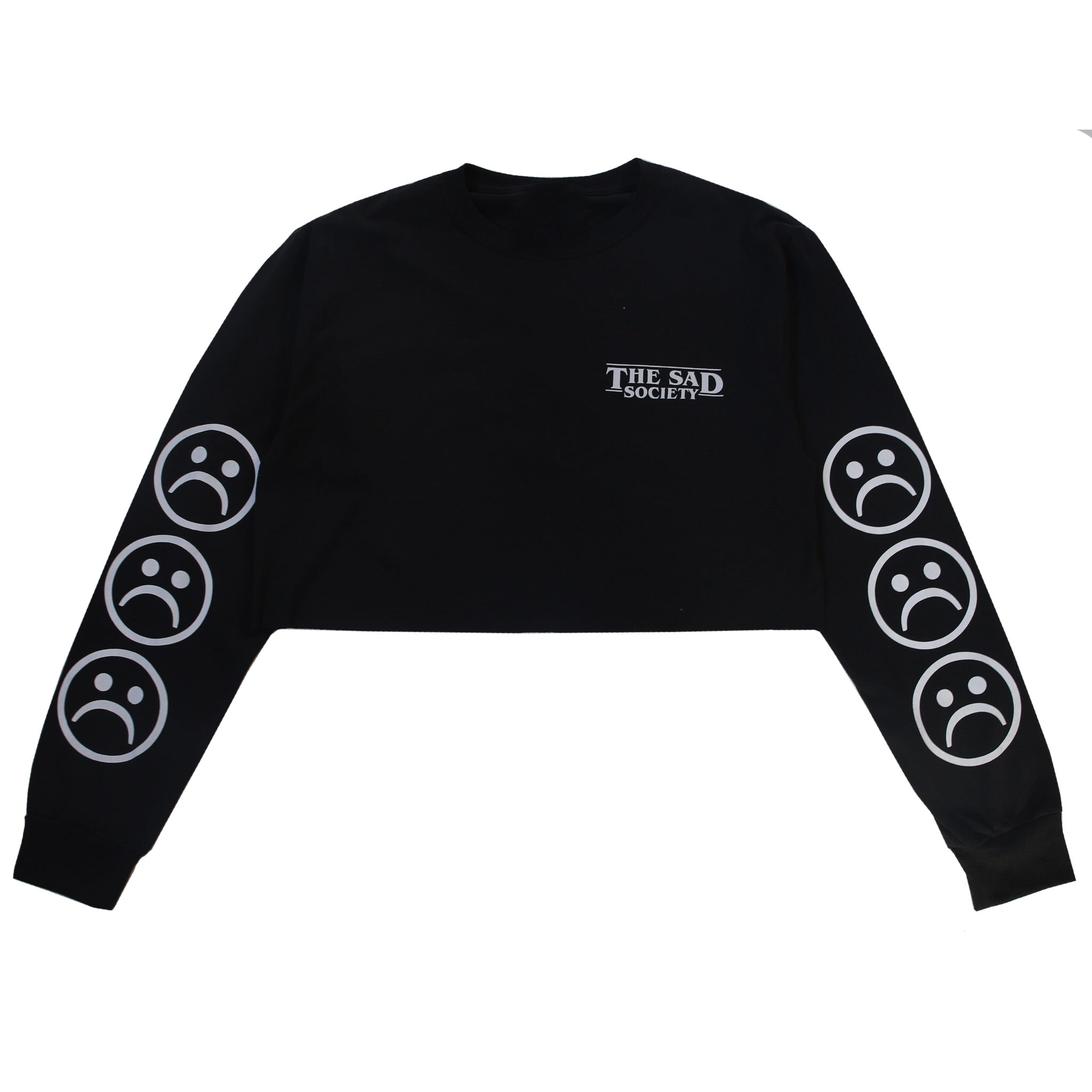 Sad Society Sad Face Crop Black Long Sleeve T Shirt