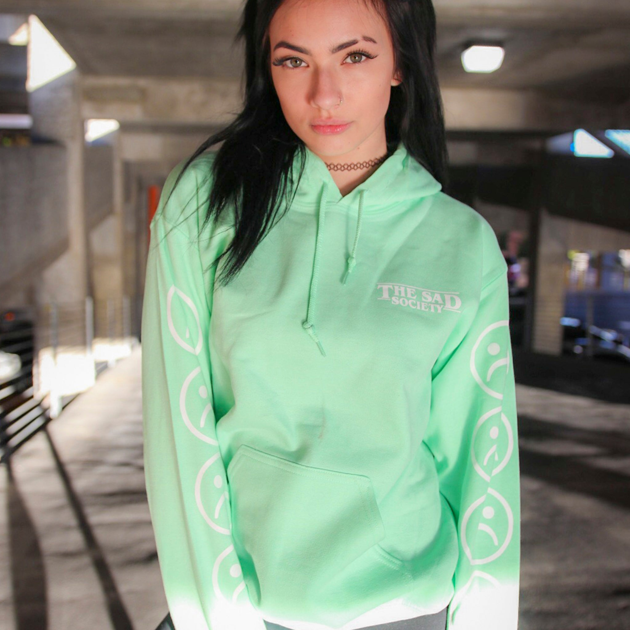 Mint Sad Face Sleeved Hoodie