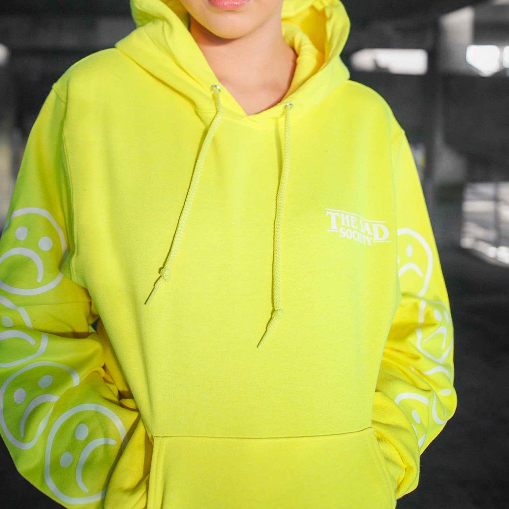 Neon Sad Face Sleeved Hoodie