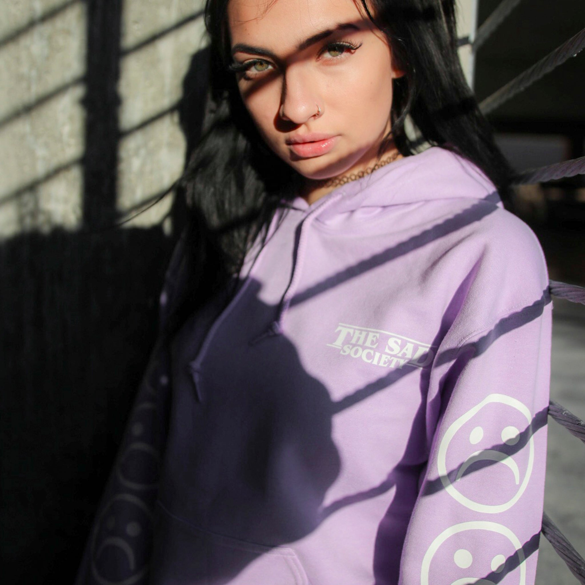 Orchid Sad Face Sleeved Hoodie