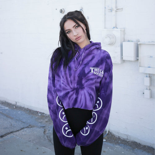 Sad Face Crop Purple Tie Dye Hoodie