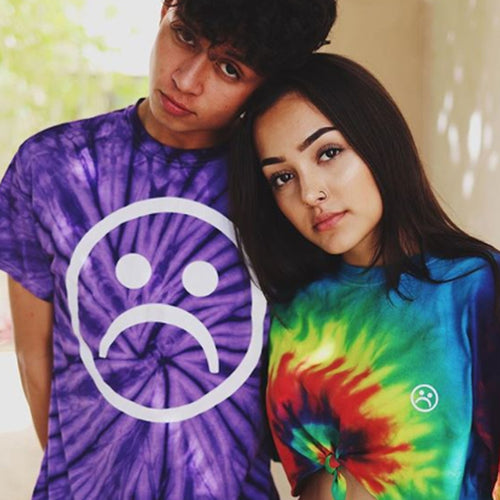 Sad Face Purple Tie Dye T Shirt
