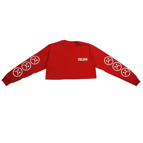 Sad Society Sad Face Crop Red Long Sleeve T Shirt