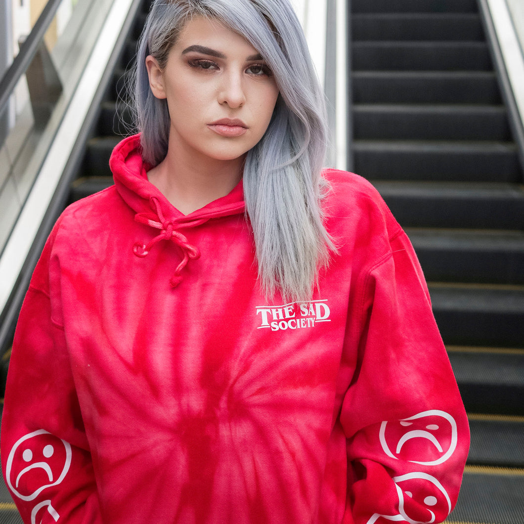 The Sad Society Tie Dye Red Hoodie