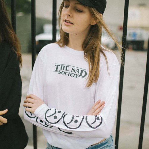The Sad Society™ Bogo Sad Face White Long Sleeve T Shirt
