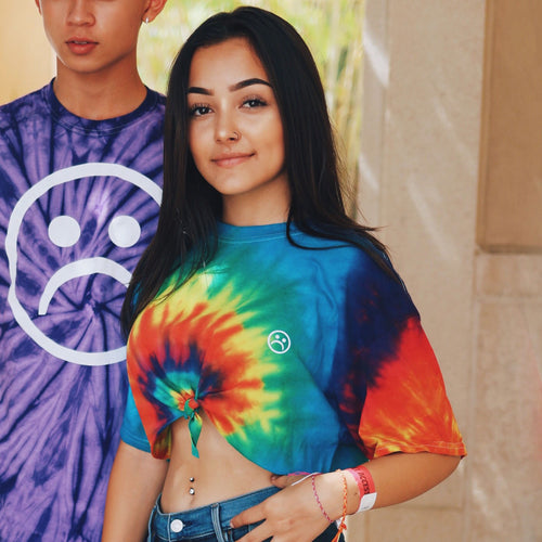 Sad Face Tie Dye Crop Twist T Shirt