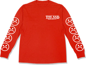 The Sad Society™ Sad Face™ Red Long Sleeve T Shirt