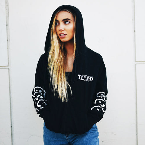 Sad Society Sad Face Black Unisex Fine Jersey Zip Hoodie