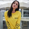 Sad Face Yellow Long Sleeve T Shirt