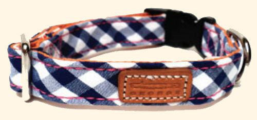 Dog Collar - GEORGE Blue Gingham Fabric Dog Collar