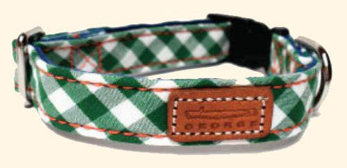Dog Collar - GEORGE Green Gingham Fabric Dog Collar
