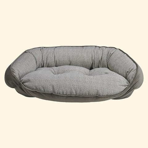 Pet Bed - Bowsers Taupe Herringbone Microvelvet Crescent Dog Bed