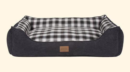 Carolina Charcoal Ombre Plaid Kuddler Dog Bed