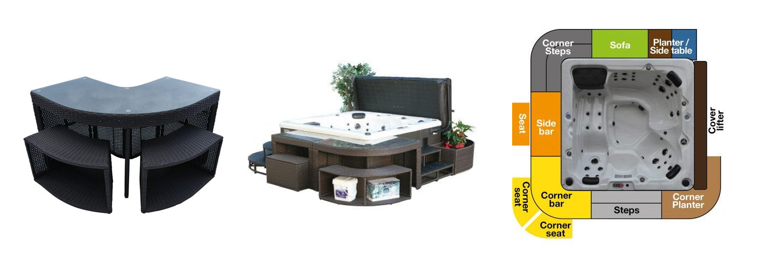 Corner bar table for canadian spa company hot tubs