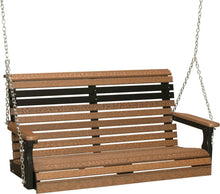 LuxCraft Porch Swing Antique Mahogany on Black LuxCraft Rollback 4ft. Recycled Plastic Porch Swing 4PPSAMB