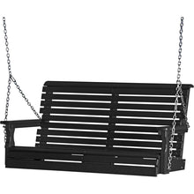 LuxCraft Porch Swing Black LuxCraft Rollback 4ft. Recycled Plastic Porch Swing 4PPSBK