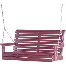 LuxCraft Porch Swing Cherry LuxCraft Rollback 4ft. Recycled Plastic Porch Swing 4PPSC