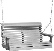 LuxCraft Porch Swing Dove Gray On Slate LuxCraft Rollback 4ft. Recycled Plastic Porch Swing 4PPSDGS