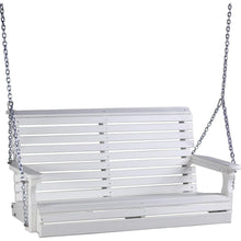 LuxCraft Porch Swing White LuxCraft Rollback 4ft. Recycled Plastic Porch Swing 4PPSW
