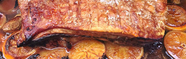 BBQ Roasted Pork Belly with Orange, Beer and Spice