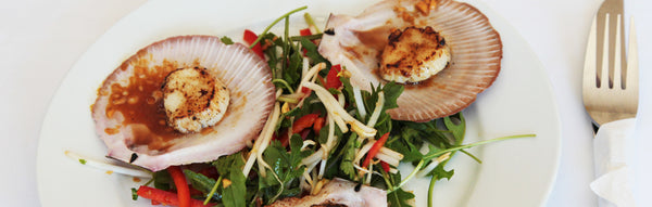 BBQ ½ Shell Scallops with Chilli, Lime & Coriander