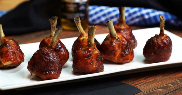 Spiced Chicken Lollipops with Golden Ale Glaze