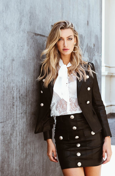 No Excuse Leather Blazer - Black