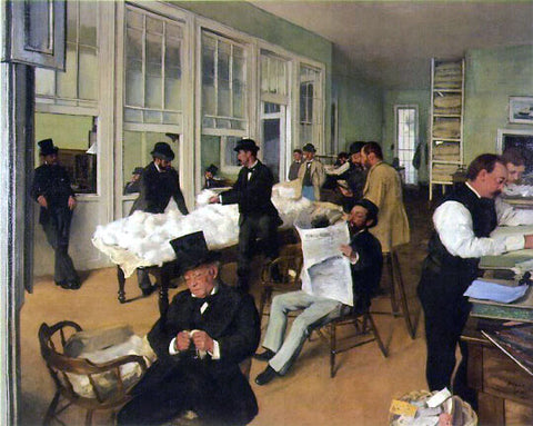 Buy famous artwork A Cotton Office in New Orleans by Edgar Degas - a painting of people working and reading the newspaper in a small office