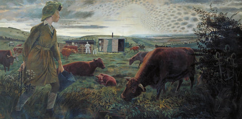 A Land Girl and the Bail Bull by Evelyn Dunbar