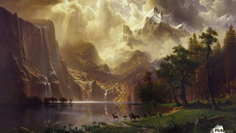 Among the Sierra Nevada Mountains, California by Albert Bierstadt