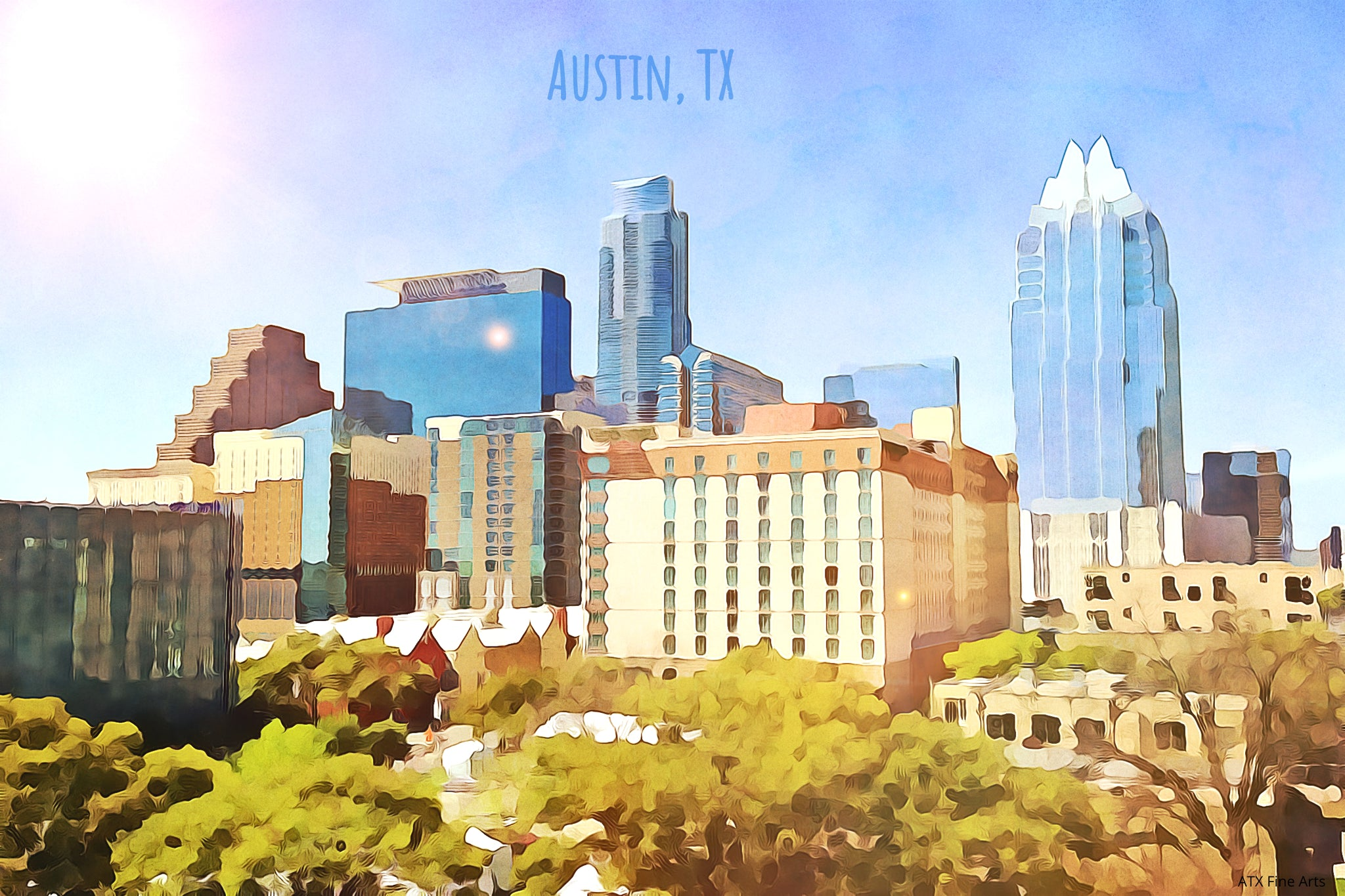 austin downtown artwork-austin downtown skyline-Austin skyline painting-austin skyline print-Austin skyline wall art-Austin skyline art-downtown Austin painting-Austin art gallery-art for sale Austin-Austin artists paintings-where to buy art in Austin-art