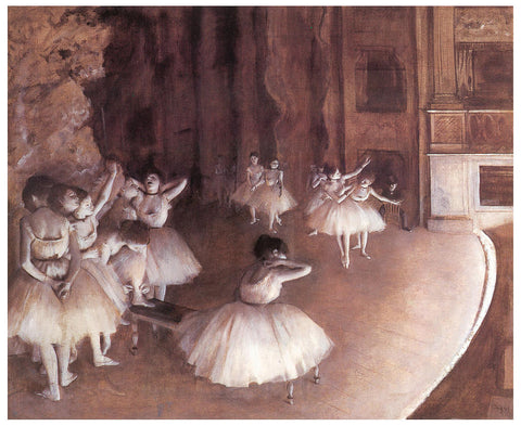 Ballet Rehearsal on Stage by Edgar Degas