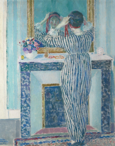 Blue Interior: Giverny (The Red Ribbon) by Frederick Carl Frieseke