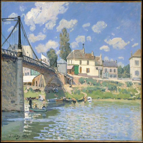 Bridge at Villeneuve-la-Garenne by Alfred Sisley - Famous Painting