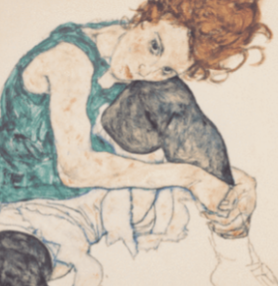 Buy famous artwork of Egon Schiele painting of a Sitting Woman With Legs Drawn Up  - a painting of a woman with red hair wearing a green shirt and white shorts.