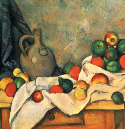 Curtain, Jug, and Fruit by Paul Cézanne