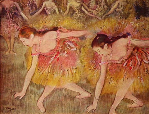 Dancers Bending Down, also known as The Ballerinas by Edgar Degas