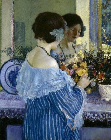 Girl in Blue Arranging Flowers by Frederick Carl Frieseke